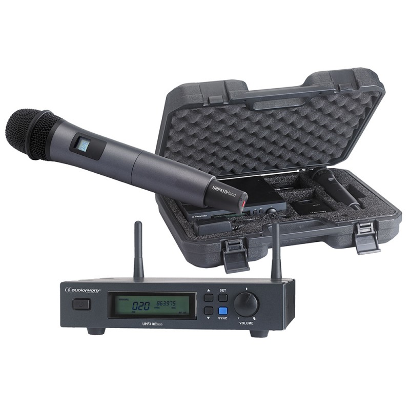Audiophony PACK-UHF410-Hand Set including a UHF True Diversity receiver and a handheld microphone in its transport case Set including a UHF True Diversity receiver and a handheld microphone in its transport case