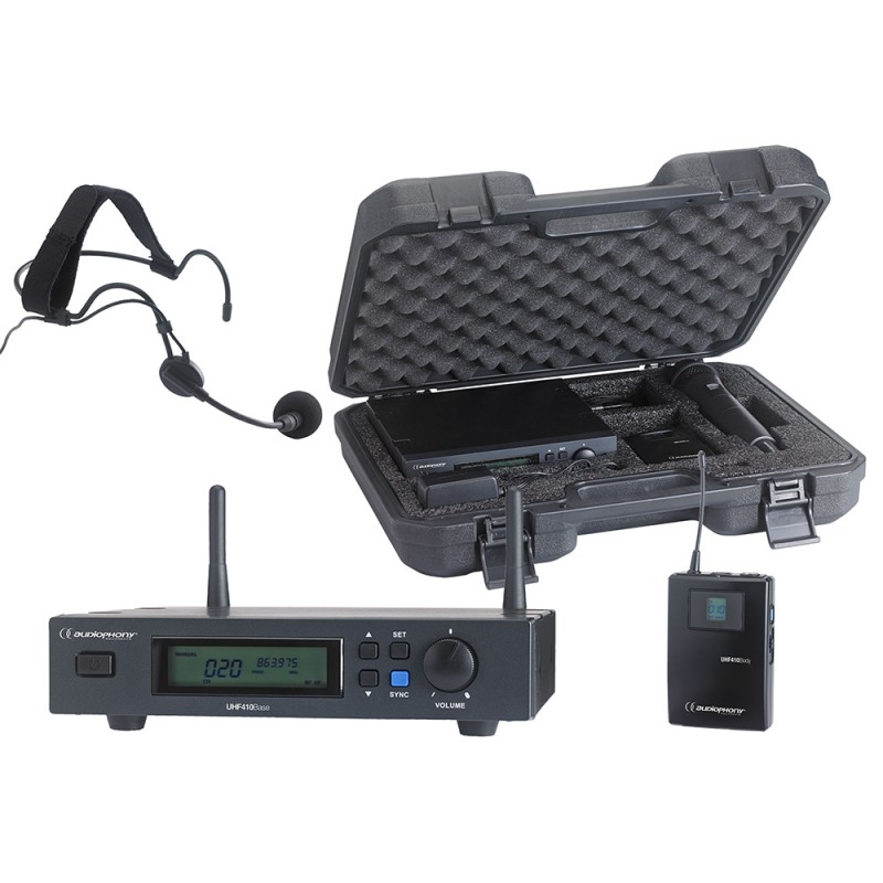 Audiophony PACK-UHF410-Head Set including a UHF True Diversity receiver + a bodypack and a headband microphone in their transport case Set including a UHF True Diversity receiver + a bodypack and a headband microphone in their transport case