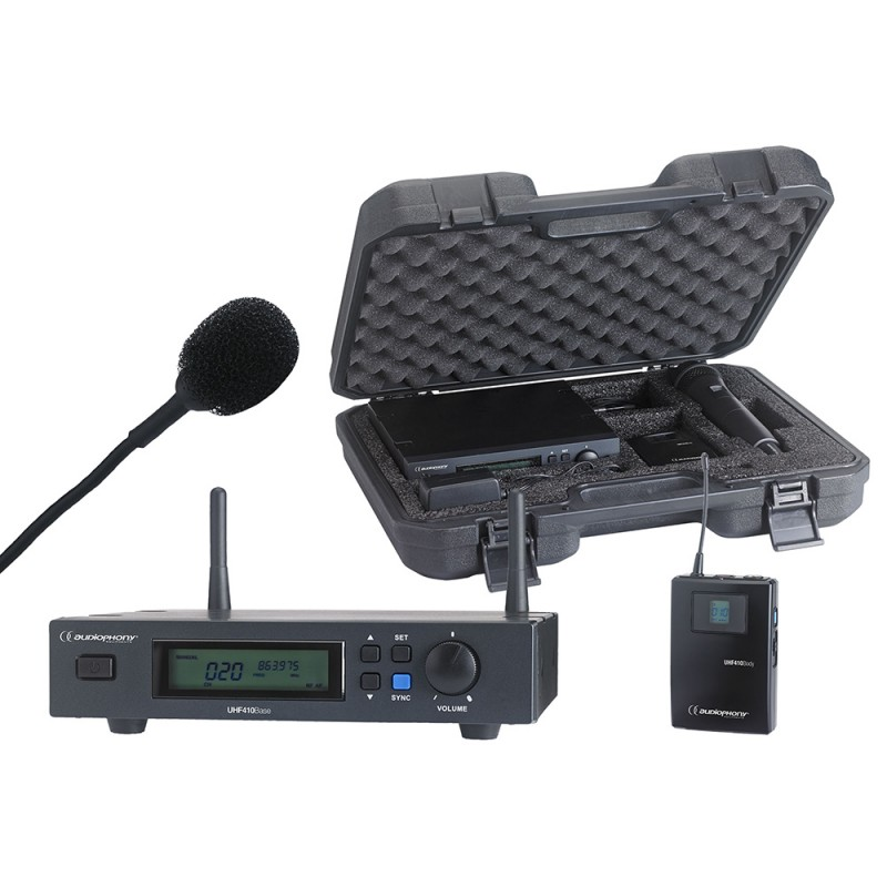 Audiophony PACK-UHF410-Lava Set including a UHF True Diversity receiver + a bodypack and a Lavalier microphone in their transport case Set including a UHF True Diversity receiver + a bodypack and a Lavalier microphone in their transport case