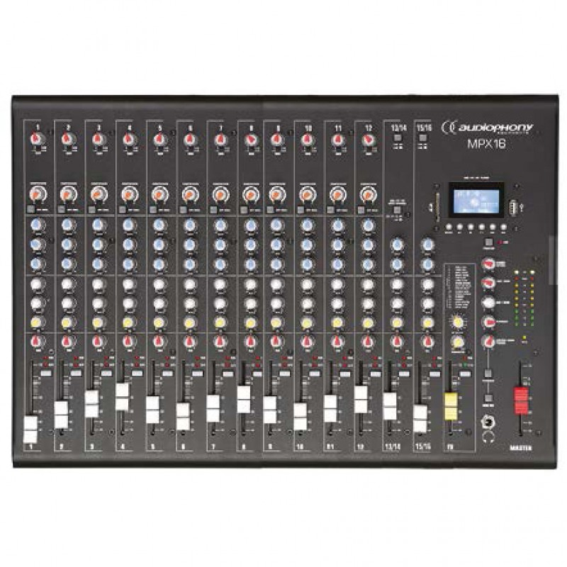 Audiophony MPX16 Mixer 16 CH + Compressor + Effects + USB/ SD/BT Player Mixer 16 CH + Compressor + Effects + USB/ SD/BT Player