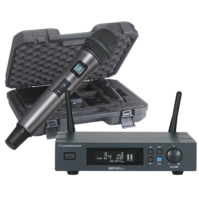 Audiophony PACK-UHF410-Hand-F5 UHF receiver packWith hand microphone and case - 500MHz UHF receiver packWith hand microphone and case - 500MHz