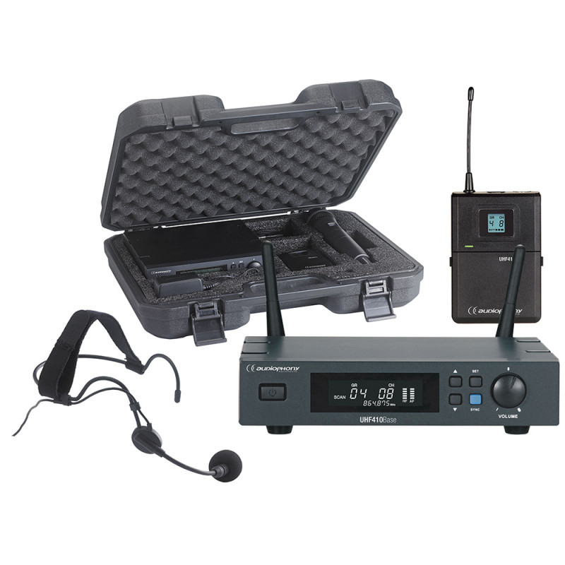 Audiophony PACK-UHF410-Head-F5 Set of UHF True Diversity receiverWith bodypack, headband microphone and transport case - 500MHz Set of UHF True Diversity receiverWith bodypack, headband microphone and transport case - 500MHz