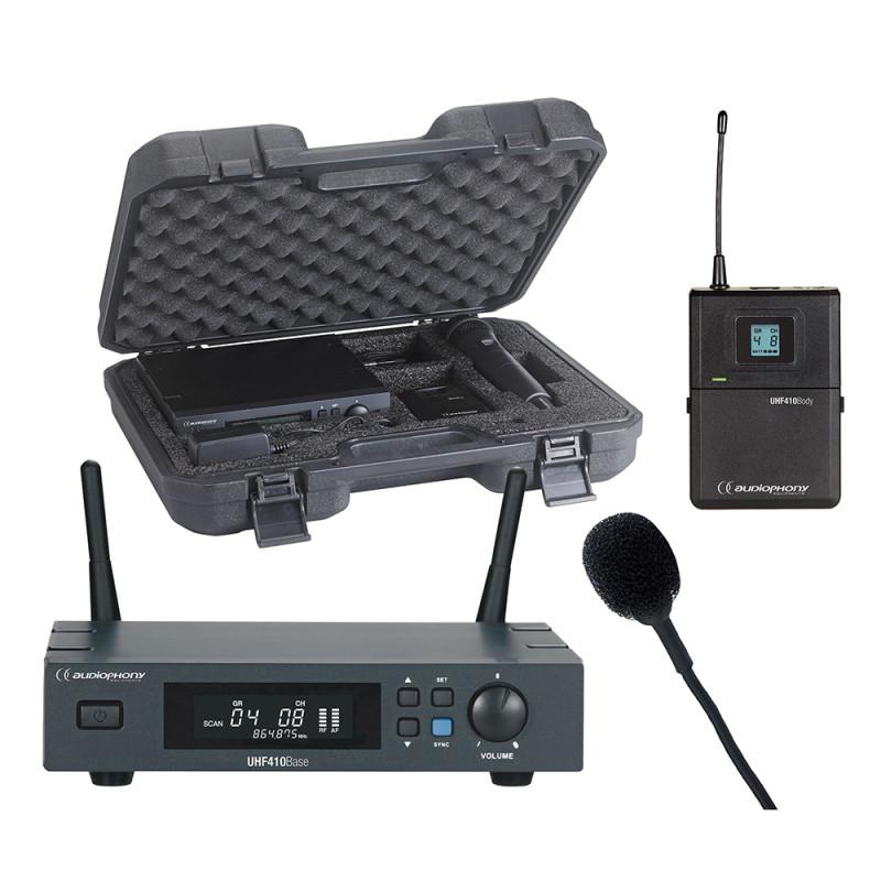 Audiophony PACK-UHF410-Lava-F5 Set of UHF True Diversity receiver + bodypack + Lavalier microphone + transport case - 500MHz Set of UHF True Diversity receiver + bodypack + Lavalier microphone + transport case - 500MHz
