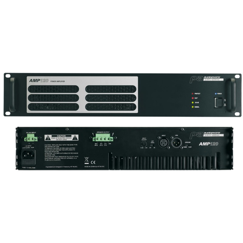 Audiophony AMP120 Professional amplifier for 100v installations Professional amplifier for 100v installations