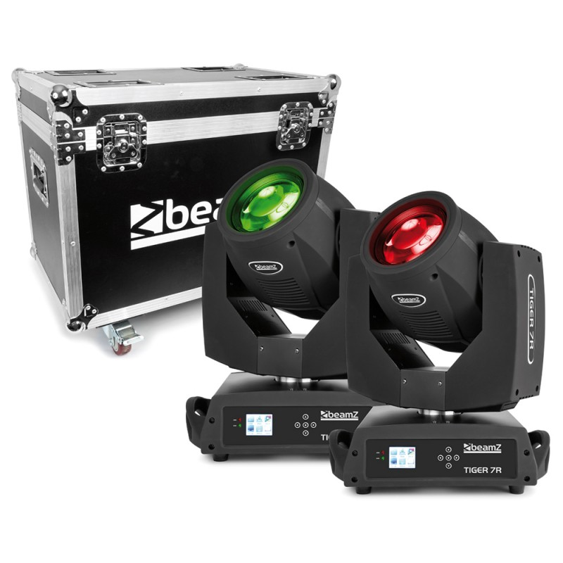 BeamZ Tiger 7R 230W Moving Head Beam & Spot 2pcs in Flightcase 230W Moving Head Beam & Spot 2pcs in Flightcase