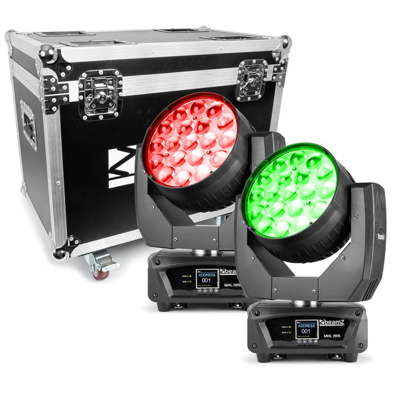 BeamZ MHL1915 19x 15W 4in1 Moving Head Zoom Set 2pcs in Flightcase 19x 15W 4in1 Moving Head Zoom Set 2pcs in Flightcase